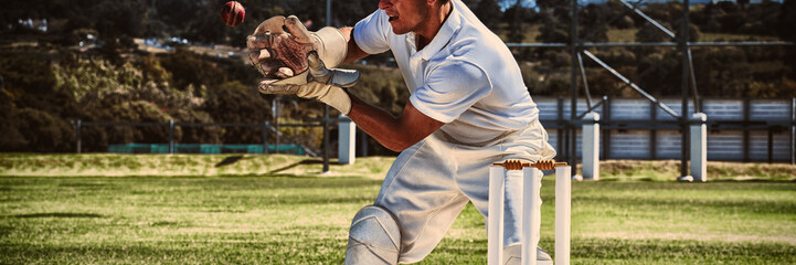 Wicketkeeper catching cricket ball behind stumps