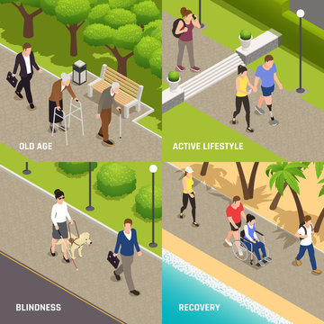 Disabled injured Isometric Concept
