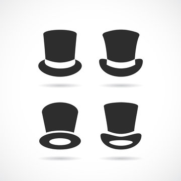 Tall black hat vector icon set on white background