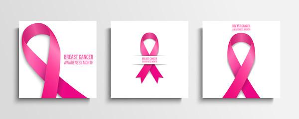 Breast cancer awareness month cards set. Multiple myeloma cancer awareness month and solidarity symbol. Pink ribbon on white background. Vector illustration.