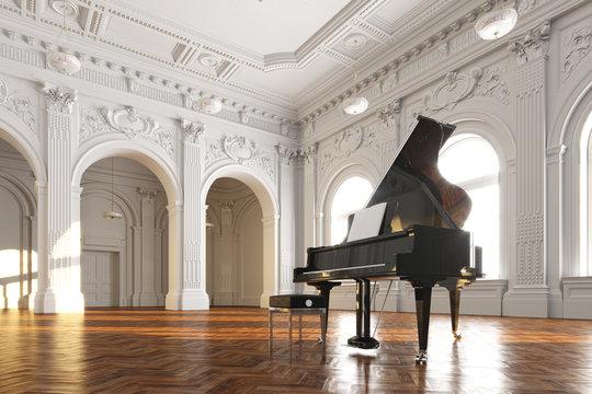 black grand piano in white classic room 3d render