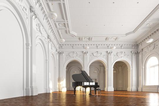black grand piano in white museum interior 3d render