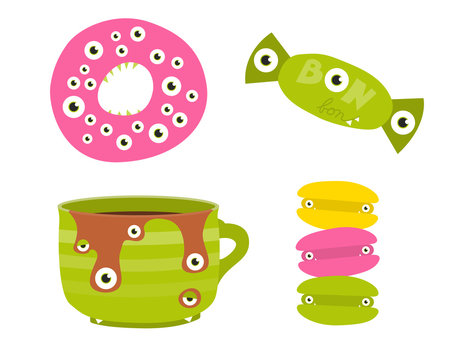 Set of sweets stylized as cute Halloween monsters. Doughnut, bonbon, cupf of caffee and macroons with many eyes and sharp teeth.