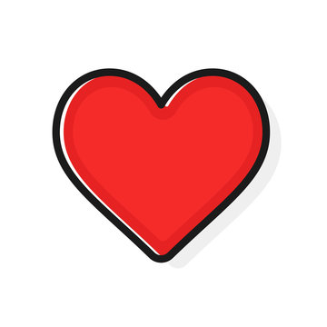Like and Heart icon. Flat outline style. Live stream video, chat, likes. Social nets like red heart web buttons isolated on white background. Valentines Day. Vector illustaration.