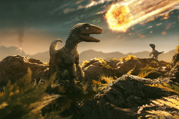 Velociraptor sees incoming asteroid Wall mural