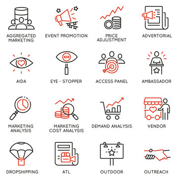 Vector set of linear icons related to business management process, advertising promotion and marketing. Mono line pictograms and infographics design elements - part 1