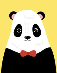 A cartoon portrait of a panda. Stylized grizzly bear in bow tie. Forest inhabitant. Art for children. Picture for the postcard.