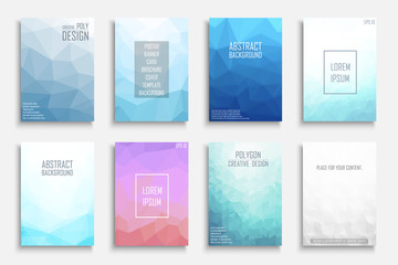 Collection of vector colorful abstract polygonal contemporary backgrounds. Vibrant gradient covers - mosaic geometric design.