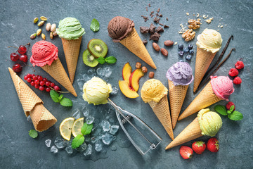 Various varieties of ice cream in cones