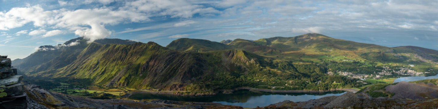 Panoramic landscape of Snowdonia National Park, Wales, UK