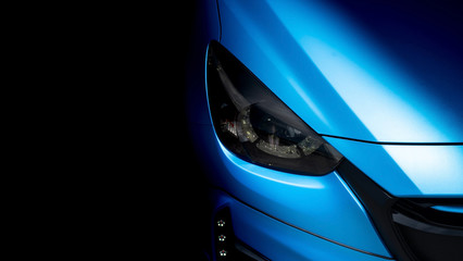 Wrapping car detailing film blue .Metallic color vinyl protection damage when driving, Automobile...