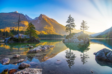 Majestic autumn sunset on Hintersee lake. Berchtesgaden Alps, Bavaria, Germany Wall mural