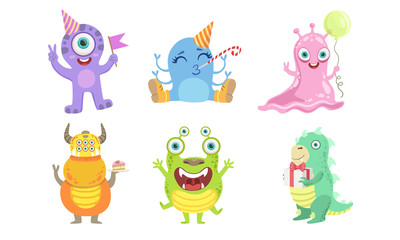 Cute Colorful Monsters Set, Funny Friendly Mutant Characters Vector Illustration