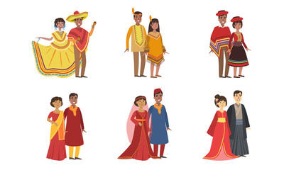 Men and Women Dressed Folk Costumes of Various Countries Set, Peru, Ameican Indian, Mexico, India, China, Japan, Vector Illustration