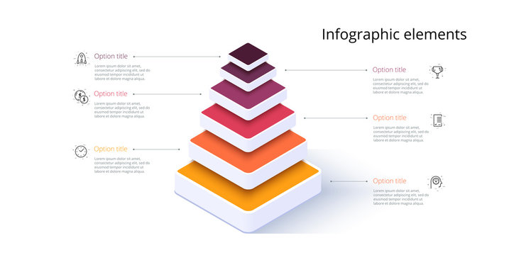 Business pyramid chart infographics with 6 steps. Pyramidal stages graph elements. Company hiararchy levels presentation template. Vector info graphic design.