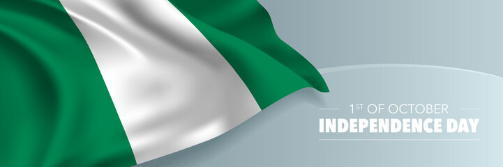 Nigeria independence day vector banner, greeting card.