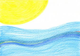太陽と海、夏をイメージしたグラデーションが美しい背景素材