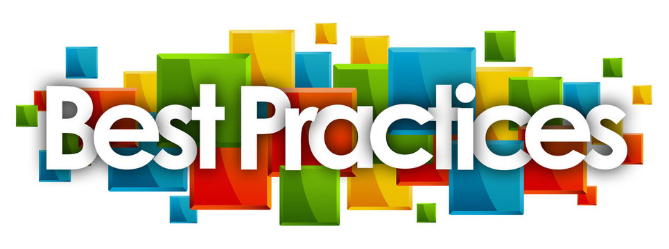 Best Practices word in colored rectangles background