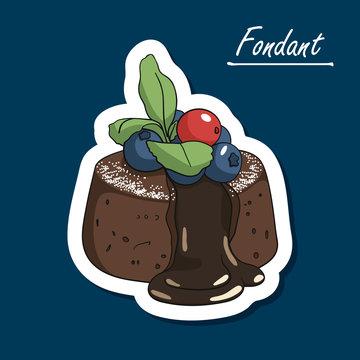 Hand-drawn сhocolate fondant lava cake with powdered sugar and berries. Chocolate   dessert. Colorfull illustration of dessert.