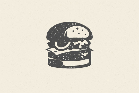Engraving burger silhouette with texture hand drawn style effect vector illustration.
