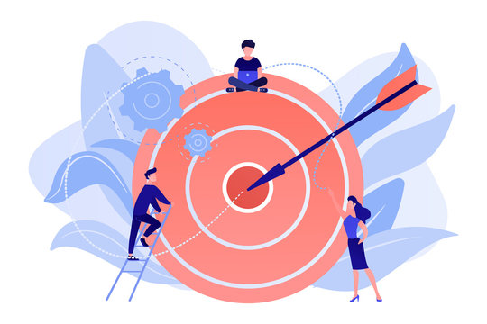 Businessmen working and woman at big target with arrow. Goals and objectives, business grow and plan, goal setting concept on white background. Living coral blue vector isolated illustration