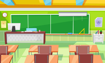 Teacher table and children desks vector, classroom interior with blackboard and supplies. School room 3d isometric style, rows of workplaces and chairs. Back to school concept. Flat cartoon