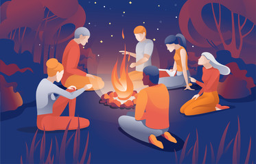 Cartoon People Sit Bonfire at Summer Night Vector Illustration. Man Woman Friend Together Tell Scary Story near Fire. Summertime Camping Evening. Forest Wood Picnic. Nature Recreation.