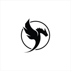 simple round black frame dragon logo icon design idea