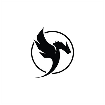 dragon logo design in simple round black frame vector. best for ancient animal template and icon design idea
