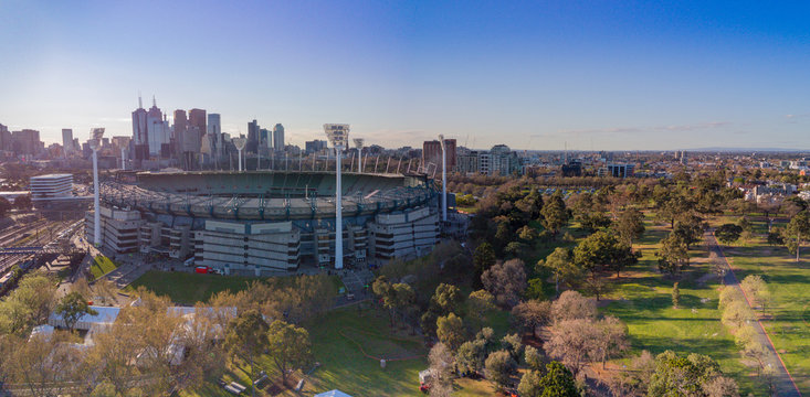 Aerial shot of the Melbourne Cricket Ground