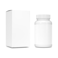 Blank Plastic Packaging Bottle with Box Isolated on White Background. Food supplement package for capsules.
