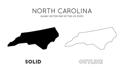 North Carolina map. Blank vector map of the Us State. Borders of North Carolina for your infographic. Vector illustration. Wall mural