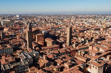 Bologna cityscape seen of 'Torre degli asinelli'.