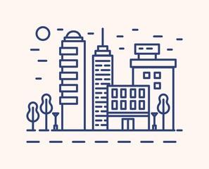 Fototapete - Modern cityscape outline vector illustration. Blue linear urban landscape isolated on white background. City buildings, skyscrapers monocolor line art signs. Metropolis architecture, business district