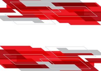 Abstract red grey geometric on white design modern futuristic technology background vector.
