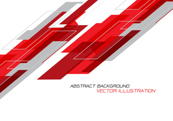 Abstract red grey geometric on white with blank space design modern futuristic technology background vector.
