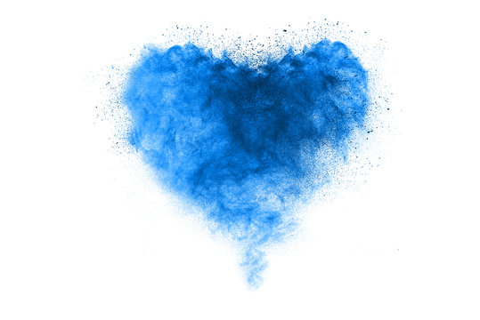 Blue sky color powder explosion on white background.