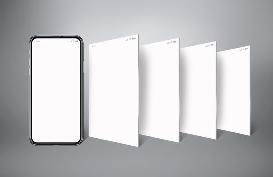 model of a cell phone, social media with cell phone, with four horizontally white screens and a gray background