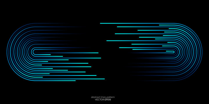 Vector half circle lines flowing dynamic pattern in blue green colors with space for text isolated on black background for header banner in concept of technology, digital, A.I.