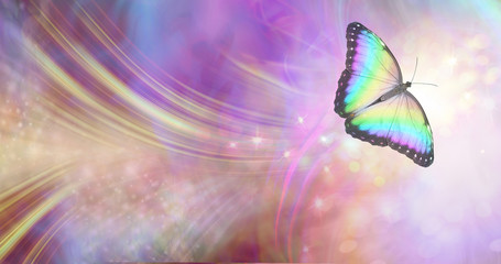 Obraz Transformation and spiritual release concept - vibrant butterfly against a white energy formation flowing outwards, sparkles and colours moving in all directions with copy space - fototapety do salonu