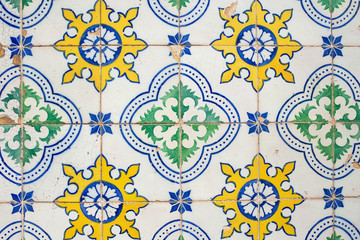Traditional portuguese decorative tiles azulejos.