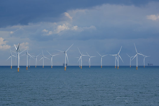 View of wind turbines from the Modular Offshore Grid (MOG) installed offshore near Belgium's coast