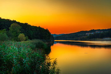 Beautiful sunset on Sumarice lake in Kragujevac, Serbia