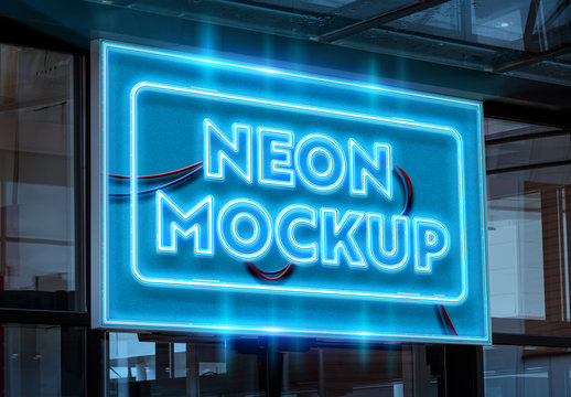 Neon Text on Sign Mockup