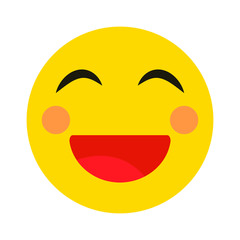Smiling emoji with open mouth.Isolated vector illustration on white background.