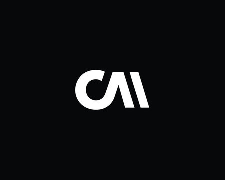 Creative and Minimalist Letter CM CA Logo Design Icon, Editable in Vector Format in Black and White Color