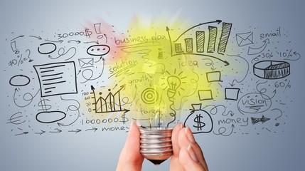Light bulb banner, marketing concept, business idea. info graphic
