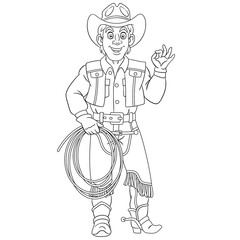 coloring page with cowboy, horse rider