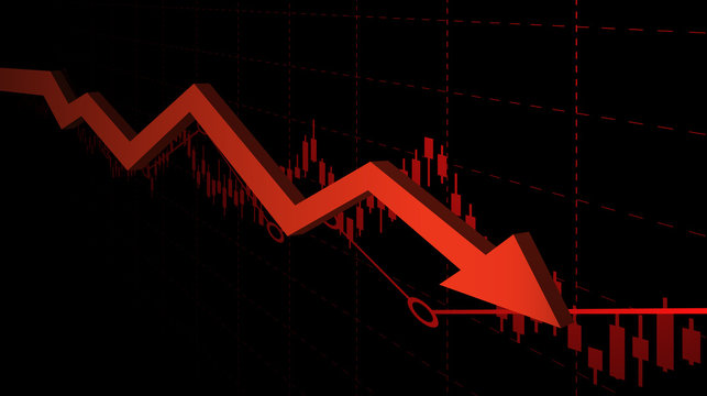 abstract financial chart with downtrend line graph and arrow in stock market on red color background