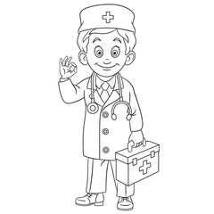 coloring page with doctor, young doc